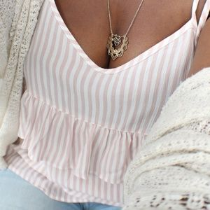 AE Pink and Cream Striped Tie Off the Shoulder Top